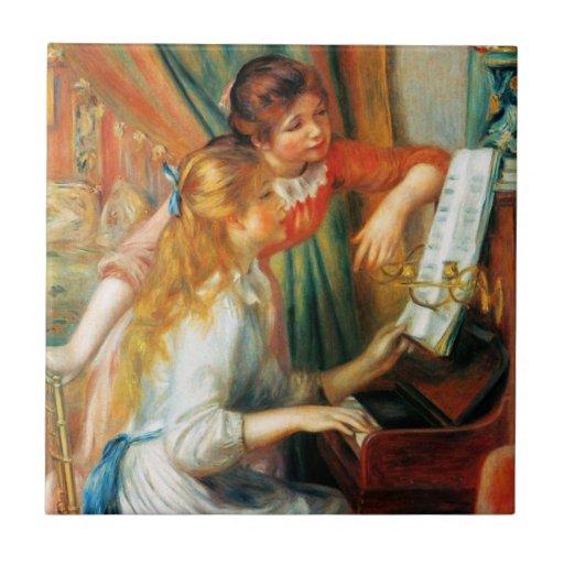 Renoir m dchen an der klavier fliese kleine quadratische fliese zazzle - Klavier fliesen ...