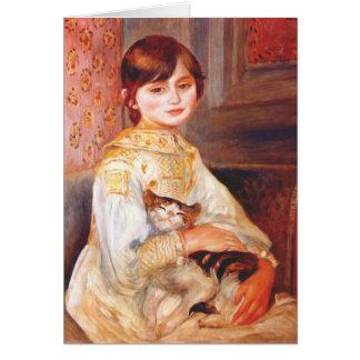 Renoir Mädchen mit Katzen-Gruß-Karte Karte