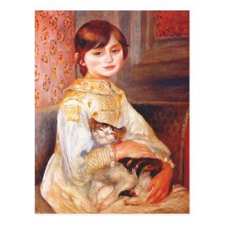 Renoir Mädchen mit Katzen-Postkarte
