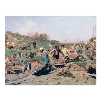 Reparieren Sie Arbeiten über die Bahnlinie, 1874 Postkarte