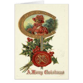 Replik-Vintages Weihnachten, Dekodame, Hufeisen, 2 Karte