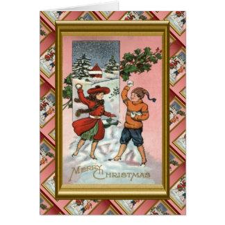 Replik-Vintages Weihnachten, Kinderschneeballkampf Karte