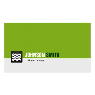 Reporter - Bio grünes Weiß Visitenkarten