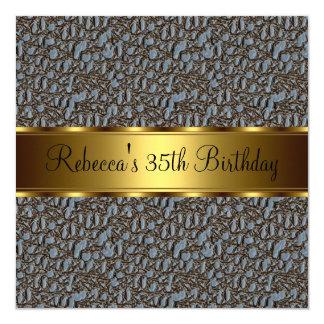 Reptil-Druck-35. elegantes Geburtstags-Party Quadratische 13,3 Cm Einladungskarte