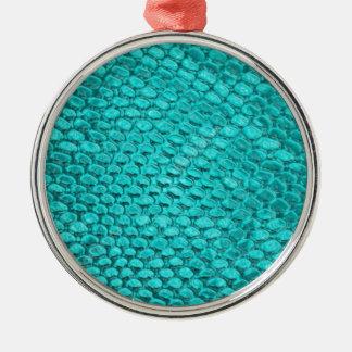 Reptil-Türkis-Blau Rundes Silberfarbenes Ornament