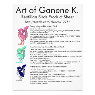 Reptilian-Vogel-Produkt-Blatt 1 11,4 X 14,2 Cm Flyer