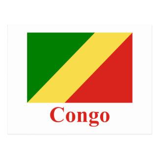 Republik Kongo-Flagge mit Namen Postkarte
