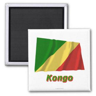 Republik Kongo Fliegende Flagge MIT Namen Quadratischer Magnet