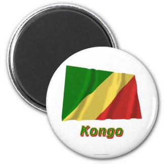 Republik Kongo Fliegende Flagge MIT Namen Runder Magnet 5,1 Cm