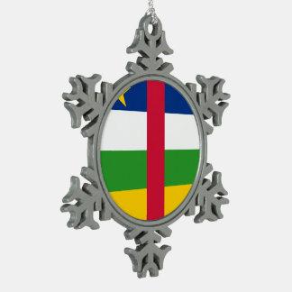Republik- Zentralafrikaflagge Schneeflocken Zinn-Ornament