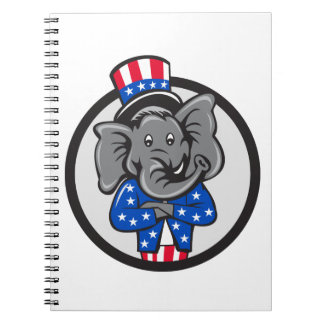 Republikanische Elefant-Maskottchen-Arme Notizblock
