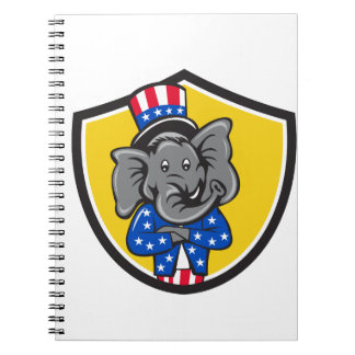 Republikanische Elefant-Maskottchen-Arme Spiral Notizblock