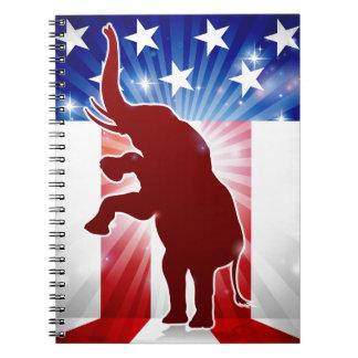 Republikanischer Elefant-politisches Maskottchen Spiral Notizblock