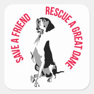 Rescue a Great Dane Quadratischer Aufkleber