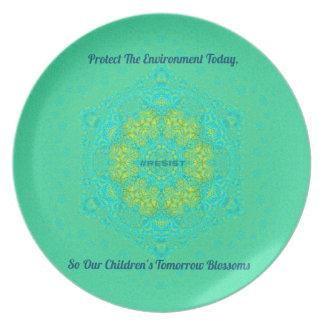#Resist schützen Umwelt Anti-Trumpf Mandala Teller