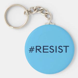 #Resist, schwarzer Text auf Himmelblau Standard Runder Schlüsselanhänger