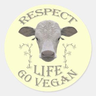 RESPECT LIFE - GO VEGAN - */* RUNDER AUFKLEBER