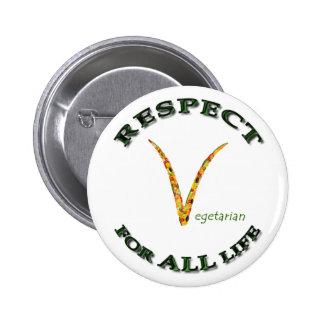 Respekt für ALLES Leben - vegetarisches Logo Anstecknadelbuttons