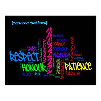 Respekt, Güte, Vertrauen… Vorzugwortkunst Postkarte
