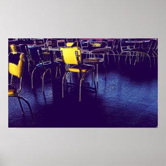 Restaurant-lila gelbes Digital-Realismus-Foto Poster