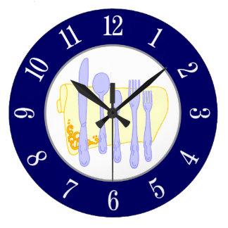 Restaurant-Tafelsilber auf blauer weißer Zahl-Uhr Große Wanduhr