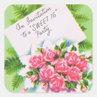 Retro 16. Geburtstag-Party laden ein Quadrataufkleber