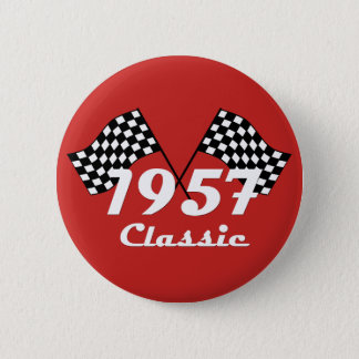 Retro 1957 klassische schwarze u. weiße Zielflagge Runder Button 5,1 Cm