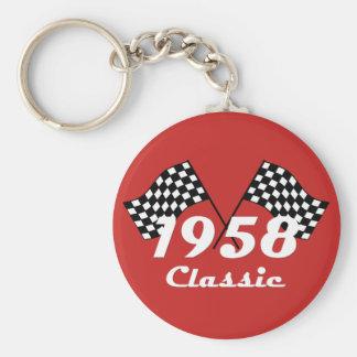 Retro 1958 klassische schwarze u. Weiß überprüfte Schlüsselanhänger