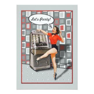 Retro 50er Jukeboxpinup-Mädchen-Party Individuelle Einladungskarte