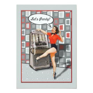 Retro 50er Jukeboxpinup-Mädchen-Party-Gewohnheit 12,7 X 17,8 Cm Einladungskarte