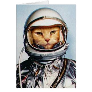 Retro 60er Astronauten-Katze Karte