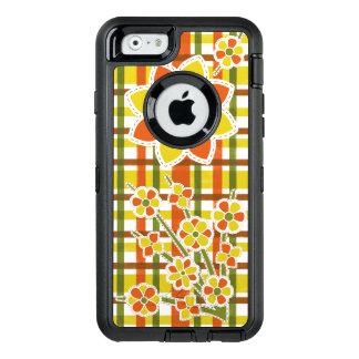 Retro 70er Blumen-orange kariertes Groovy Blumen OtterBox iPhone 6/6s Hülle