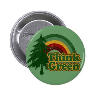 Retro 70er Regenbogen, denke ökologisch Runder Button 5,7 Cm