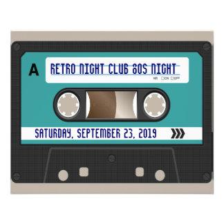 Retro 80er Kassette Mixtape personalisiert 11,4 X 14,2 Cm Flyer