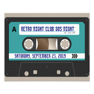 Retro 80er Kassette Mixtape personalisiert Personalisierte Flyer