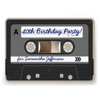 Retro 80er Kassetten-Band-40 Personalisierte Einladungskarte