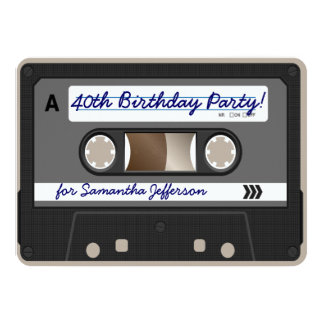 Retro 80er Kassetten-Band-40. Personalisierte Einladungskarte