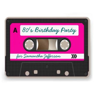Retro 80er Kassetten-Band-Geburtstags-Party Personalisierte Ankündigung