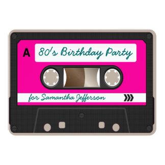 Retro 80er Kassetten-Band-Geburtstags-Party 11,4 X 15,9 Cm Einladungskarte