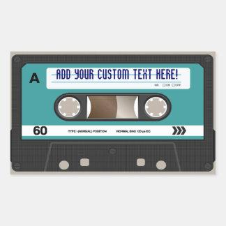 Retro 80er Kassetten-Band-personalisierter Rechteckiger Aufkleber