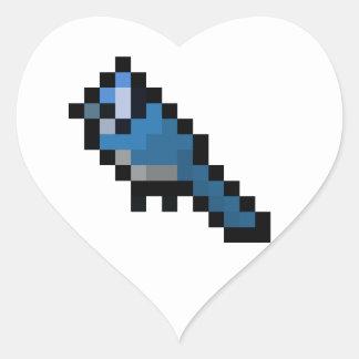 Retro 8-Bitblauhäher Herz-Aufkleber