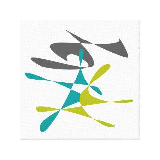 Retro abstrakte 3 leinwanddruck
