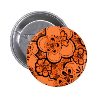 Retro abstrakter Blumen-Mandarine-Orangen-Knopf Runder Button 5,1 Cm