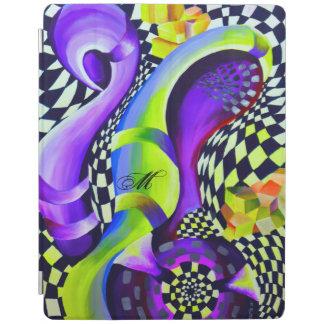 Retro abstraktes elektrisches Blau und iPad Hülle