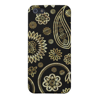 Retro abstraktes Paisley Pern 2-Gold u. Diamant iPhone 5 Etuis