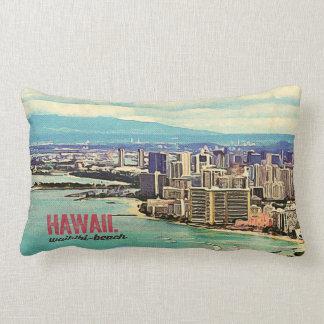 Retro alter Insel Blick-Hawaiis Oahu Waikiki Zierkissen