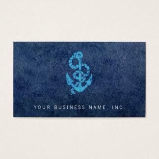 Retro Anker mit Seil auf Aquarell-Wäsche Visitenkarte