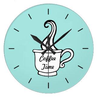 Retro Aqua-Restaurant-Kaffee-Küchen-Wanduhr Große Wanduhr