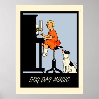Retro Art der Hundstagmusik Poster