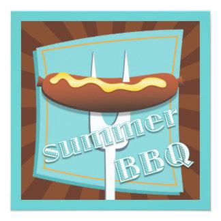 Retro Art-Hotdog-Sommer GRILLEN Party Einladung